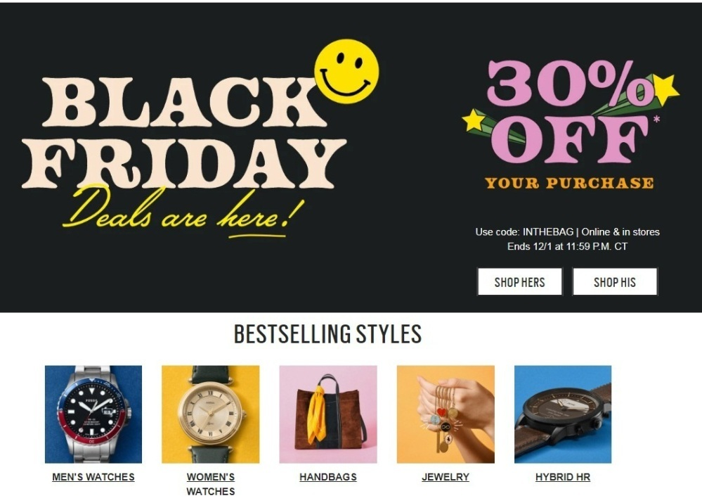 Fossil Black Friday 2020 Ad